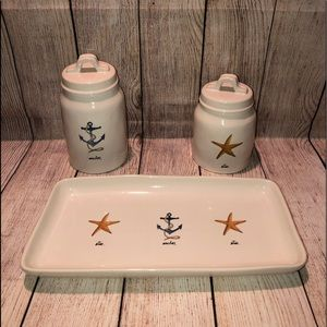 NEW Rae Dunn Beach Collection Canisters & Tray
